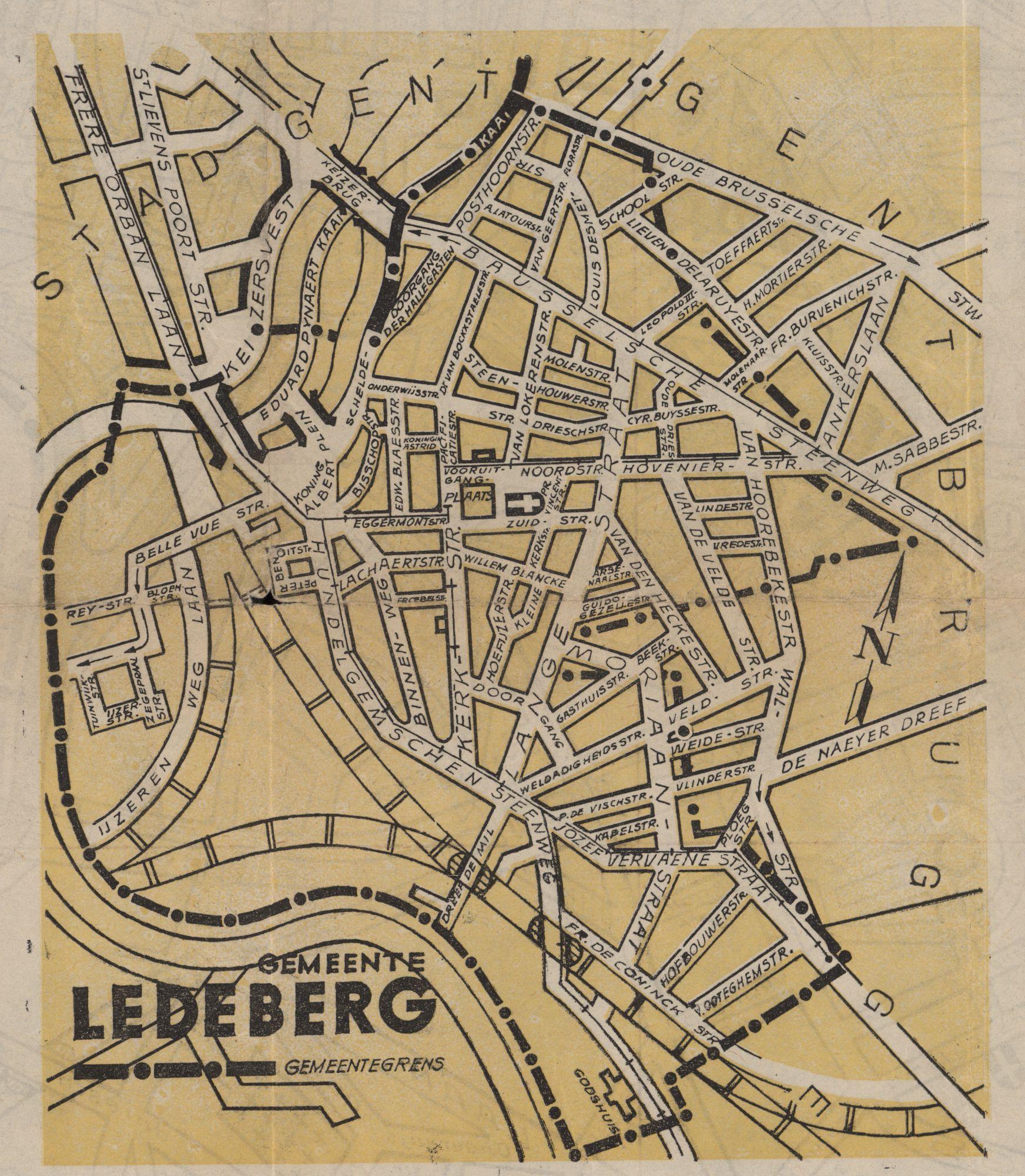 Kaart van de gemeente Ledeberg, c.1950