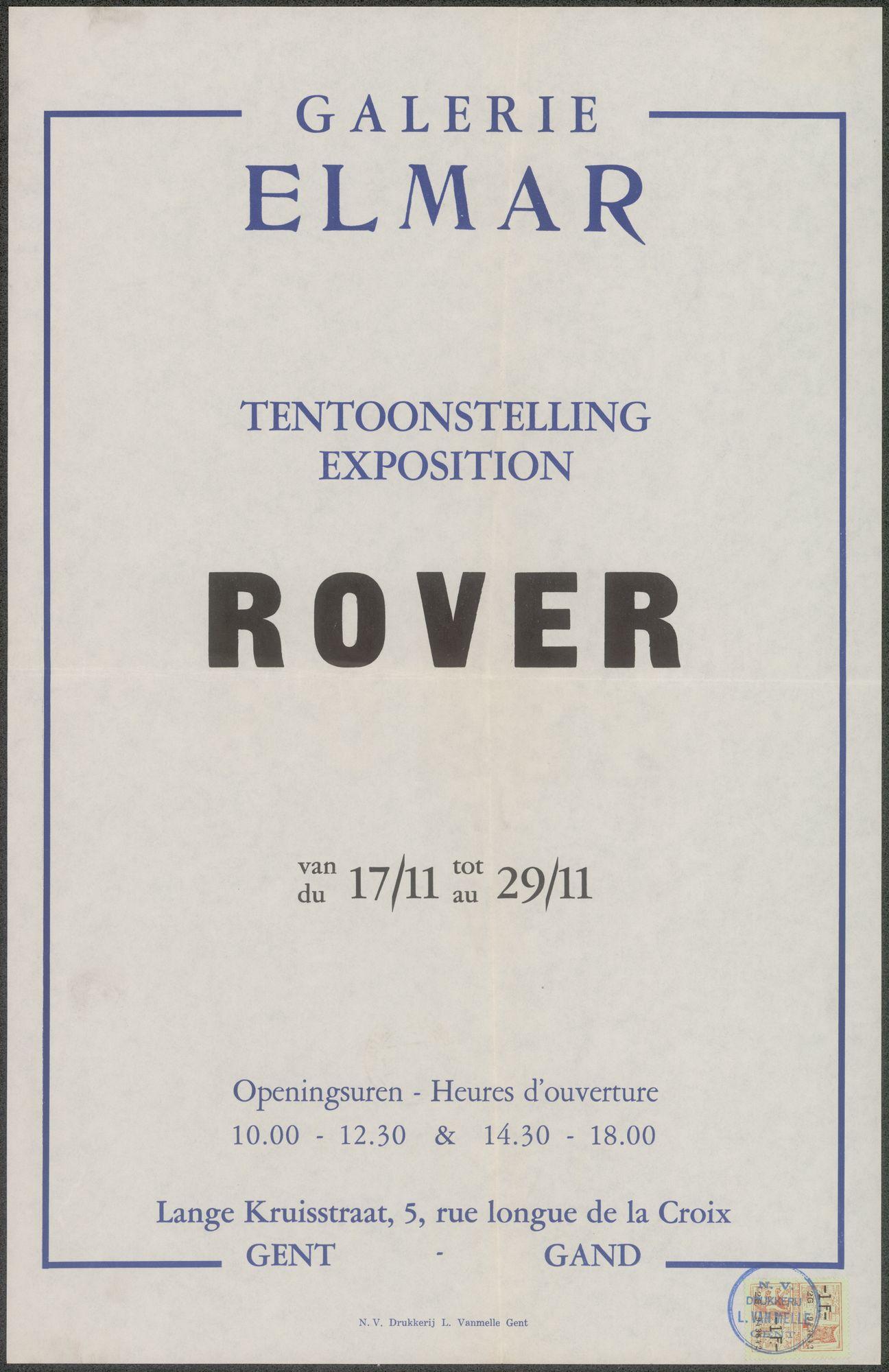 Tentoonstelling Rover, Galerie Elmar, Lange Kruisstraat 5, Gent, 7 november - 29 november 1957