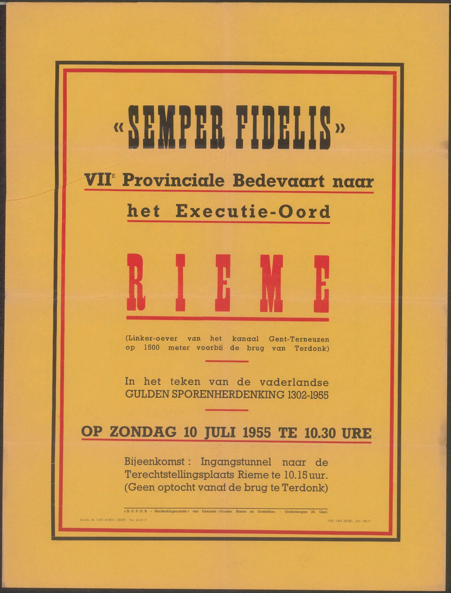 Semper Fidelis, VIIe Provinciale Bedevaart naar het Executie-Oord, Rieme, Gent, 10 juli 1955