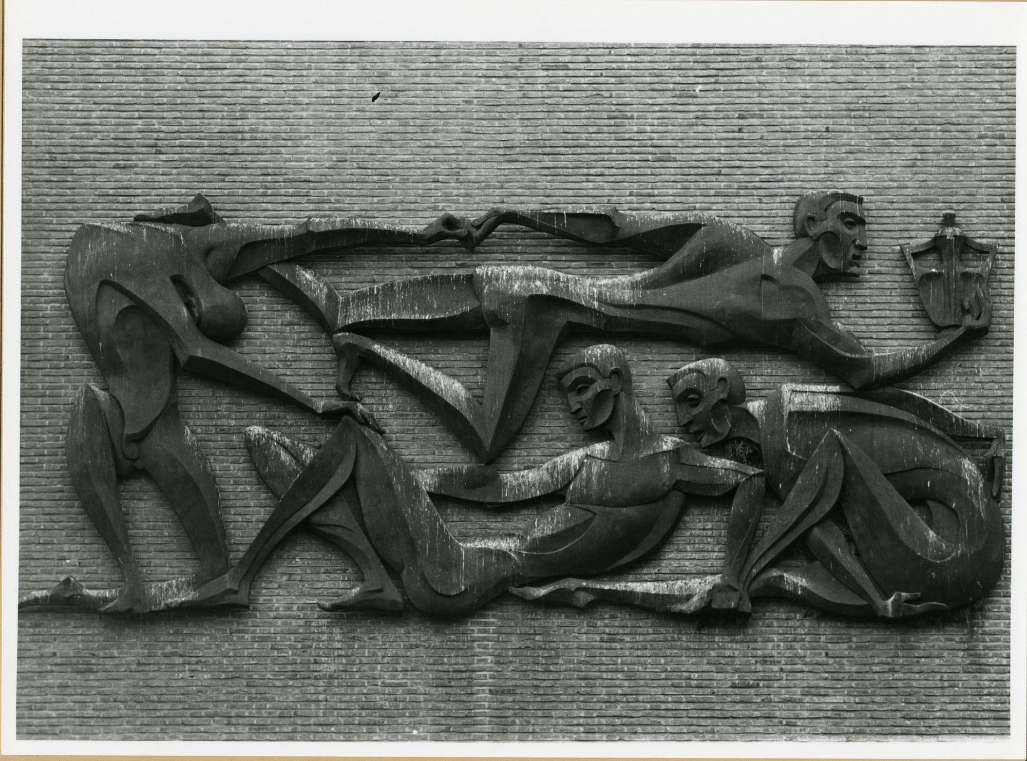 Gent: Citadelpark: Sportpaleis: reliëf: De eindmeet