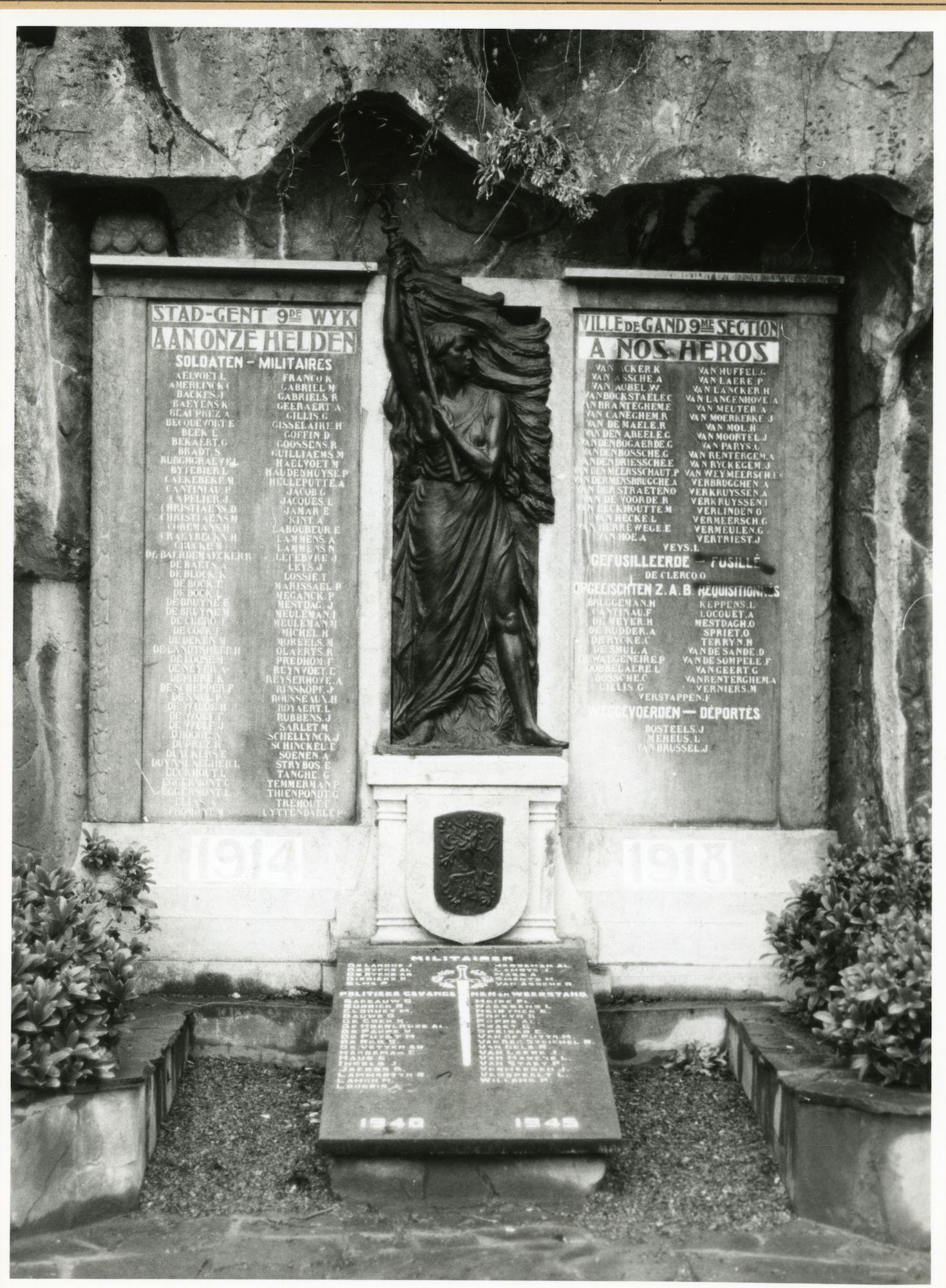 Gent: Citadelpark: Eugène Felixplein: gedenksteen: oorlogsmonument: Wereldoorlog I & II