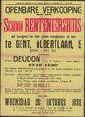 Openbare verkoop van een schoon renteniershuis met  koetspoort en twee groote werkplaatsen en koer te Gent, Albertlaan, nr. 5, Gent, 26 oktober 1938