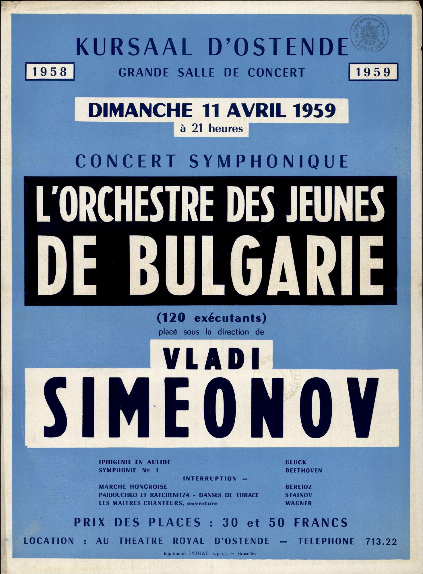 L'orchestre des Jeunes de Bulgarie, Vladi Simeonov, Concert Symphonique, Dimanche 11 avril 1959 à 21 heure, Kursaal d'Ostende 1958 / 1959