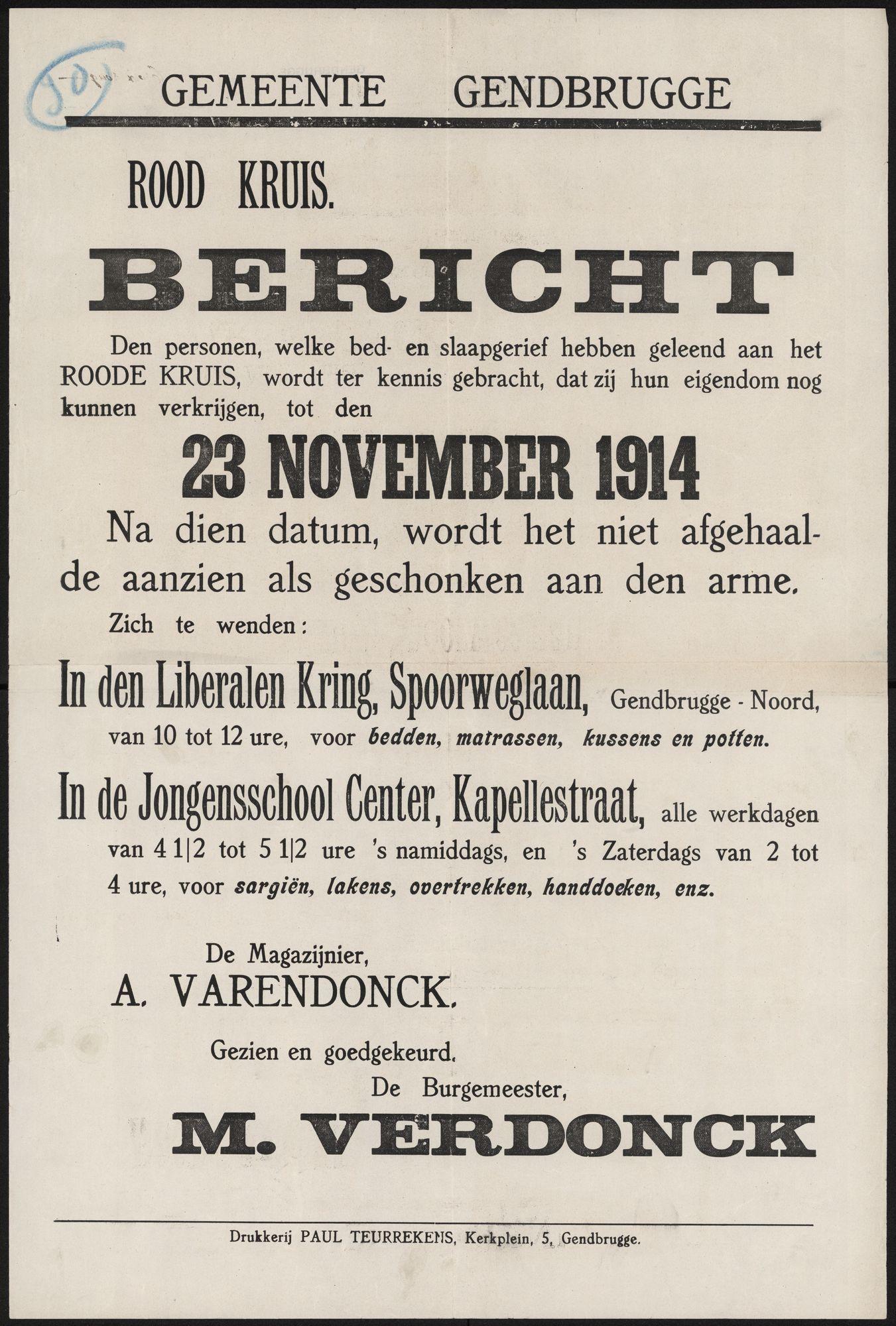 Gemeente Gendbrugge, Rood Kruis, Bericht.