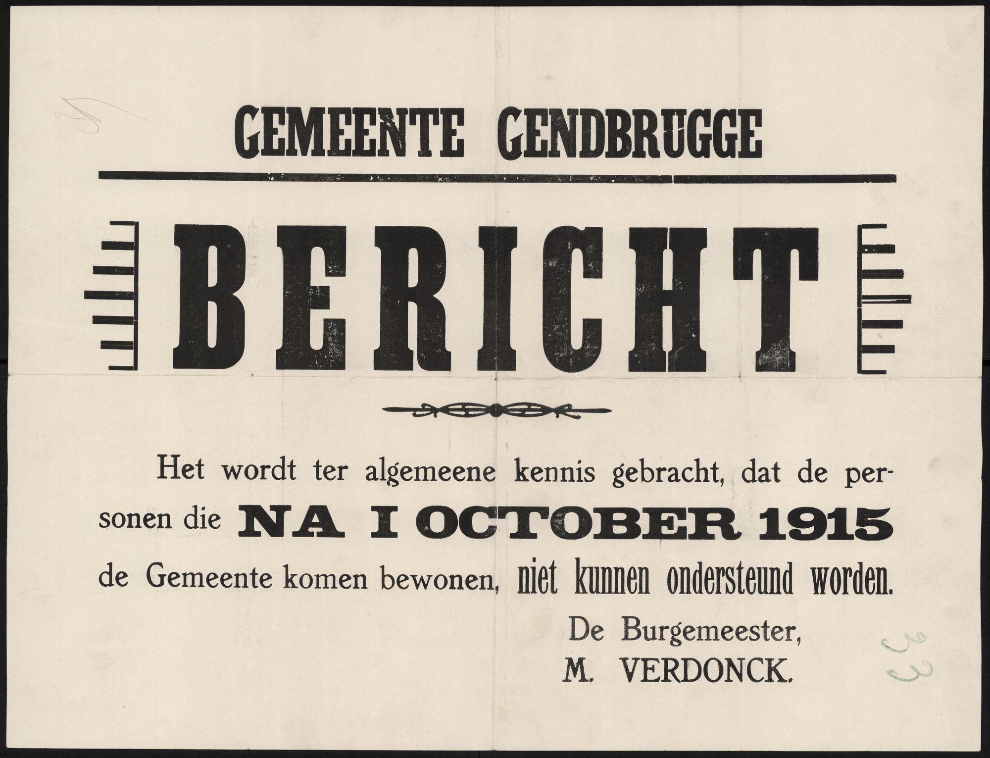 Gemeente Gendbrugge, Bericht.