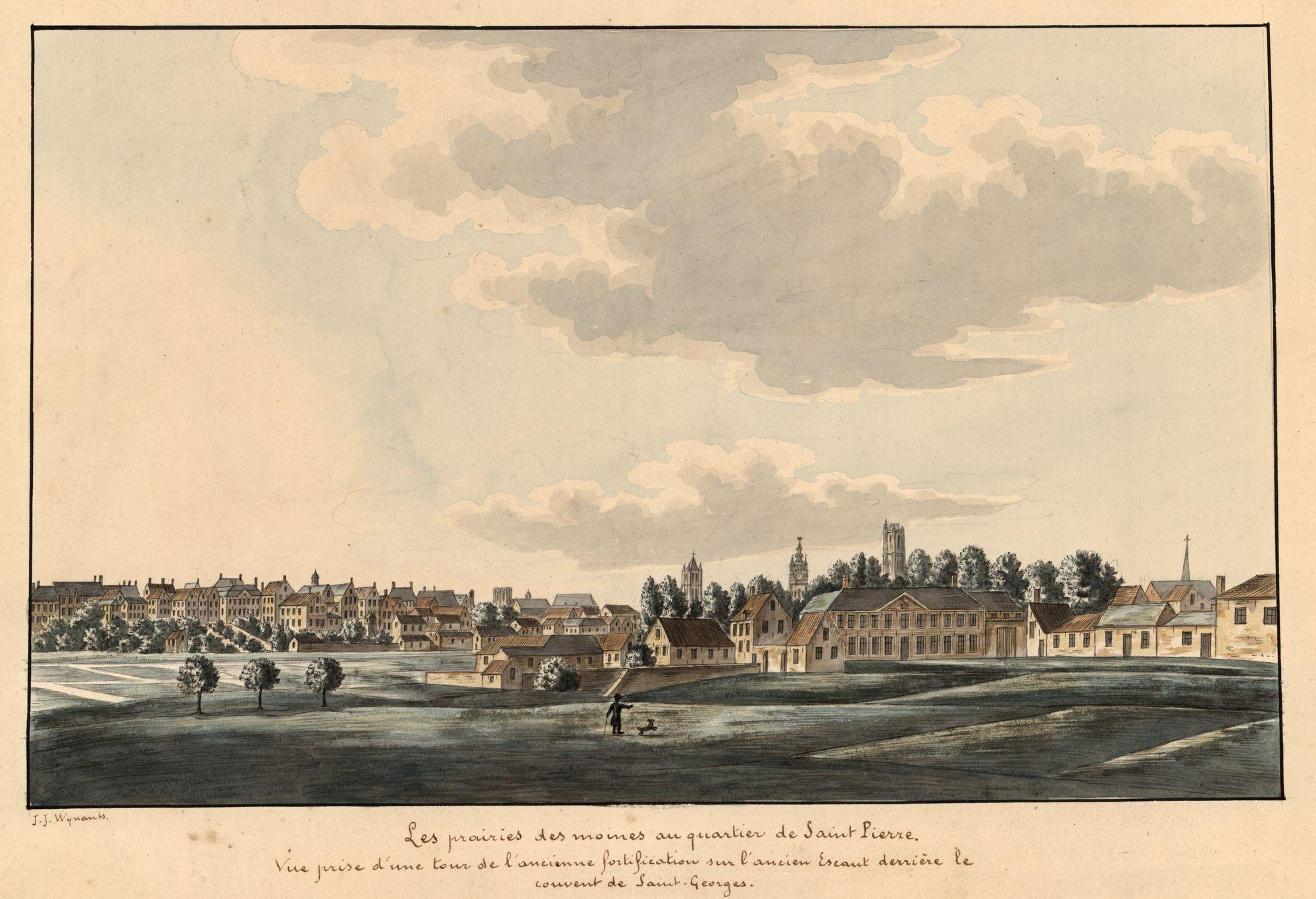 Gent: Muinkmeersen met zicht op de stad Gent vanaf een oude vestingtoren achter het Sint-Jorisklooster