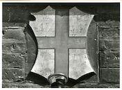 Gent: Botermarkt 4: cartouche: wapenschild van Sint Joris, 1979