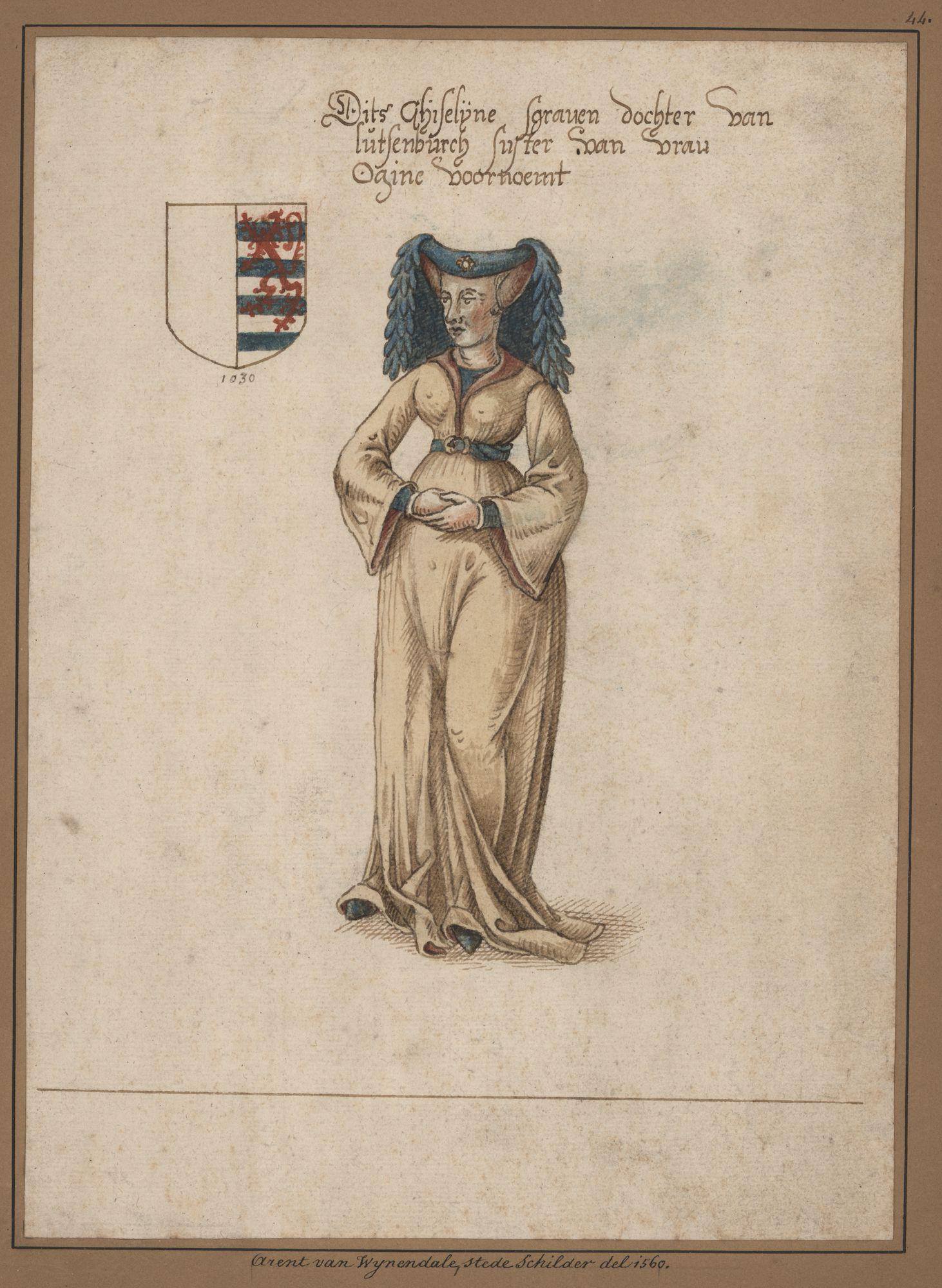 Gent: Sint-Pietersplein: monnikenkerk van de Sint-Pietersabdij: Sint-Laurentiuskapel: schilderij met het portret en wapen van Gisela van Luxemburg (+1056/8), zus van Otgiva van Luxemburg
