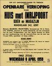 Openbare verkoop van huis met inrijpoort, koer en magazijn, Rijhovelaan, nr.242, Gent, 8 april 1959