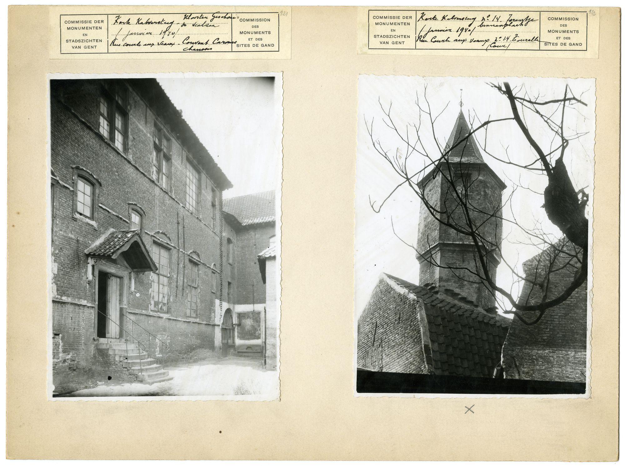 Gent:Patershol,Trommelstraat, twee foto's, 1940, Infirmerie, Brouwerij, Geschoeide Karmelieten, Zwaanstraat, Henri Coppejans