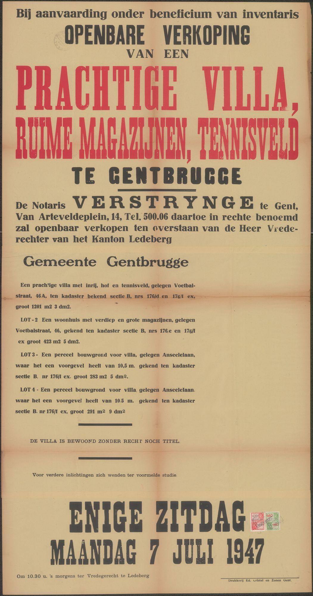 Openbare verkoop van een prachtige Villa, ruime magazijnen, tennisveld te Gentbrugge, Gent, 7 juli 1947