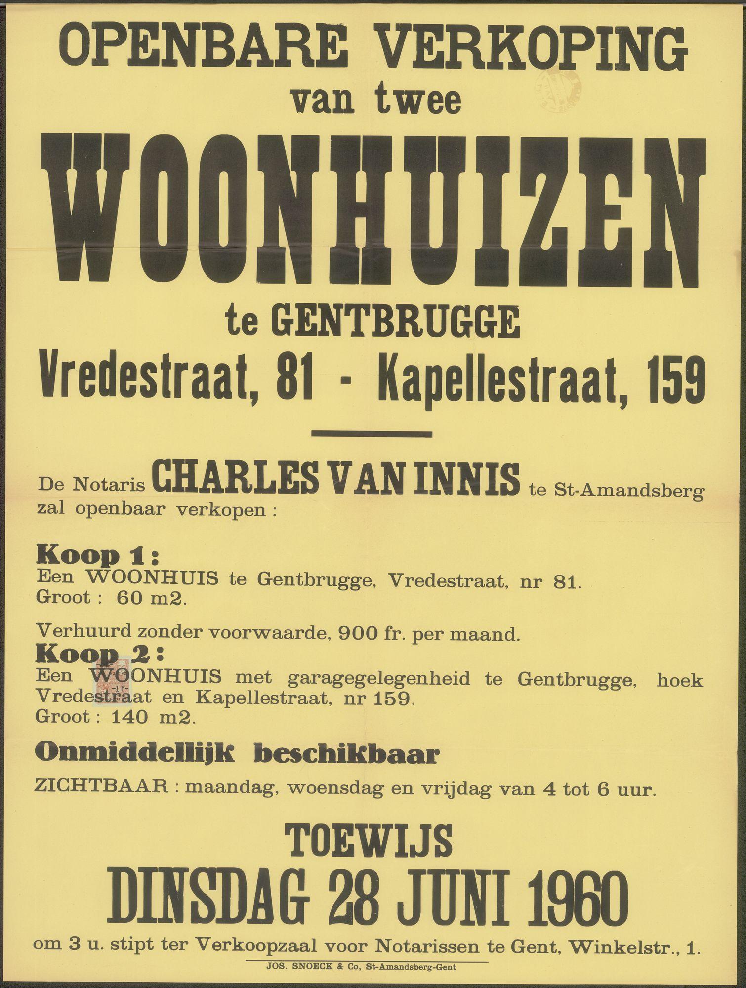 Openbare verkoop van twee woonhuizen te Gentbrugge, Vredestraat, nr. 81 - Kapellestraat, nr.159, Gent, 28 juni 1960