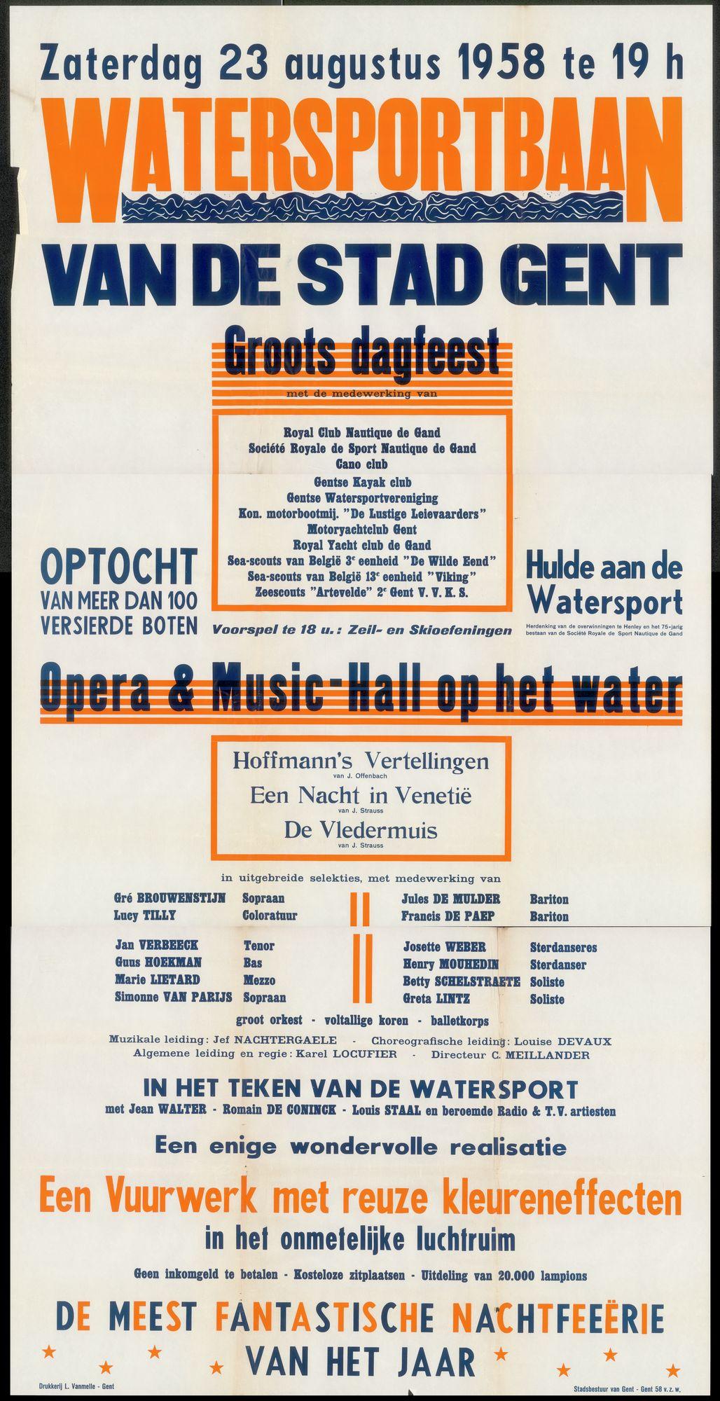 Watersportbaan van de stad Gent, Groots dagfeest, Opera & Music-hall op het water, Een vuurwerk met reuze kleureffecten, De meest fantastische nachtfeeërie van het jaar,  23 augustus 1958