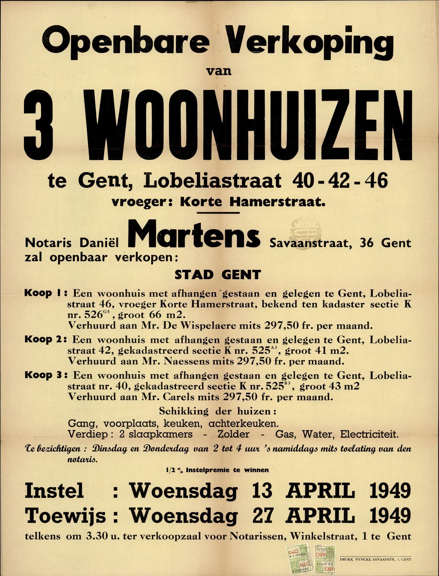 Openbare verkoop van 3 woonhuizen te Gent, Lobeliastraat, nrs.40-42-46, Gent, 27 april 1949