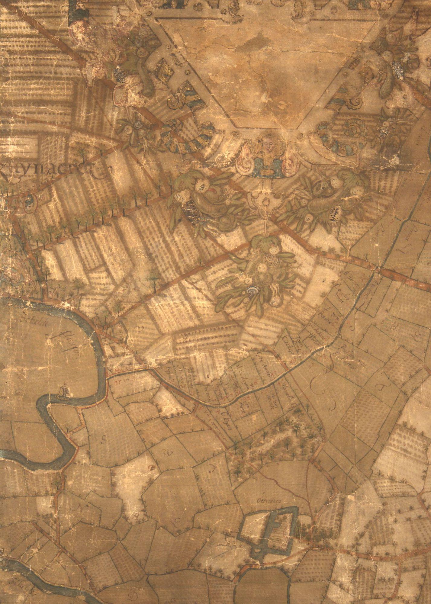 Zwijnaarde en Ottergem: kaartdeel 14 (VI) van de Kaart van Gent en het Vrije van Gent afgebakend door de Rietgracht, Jacques Horenbault, 1619