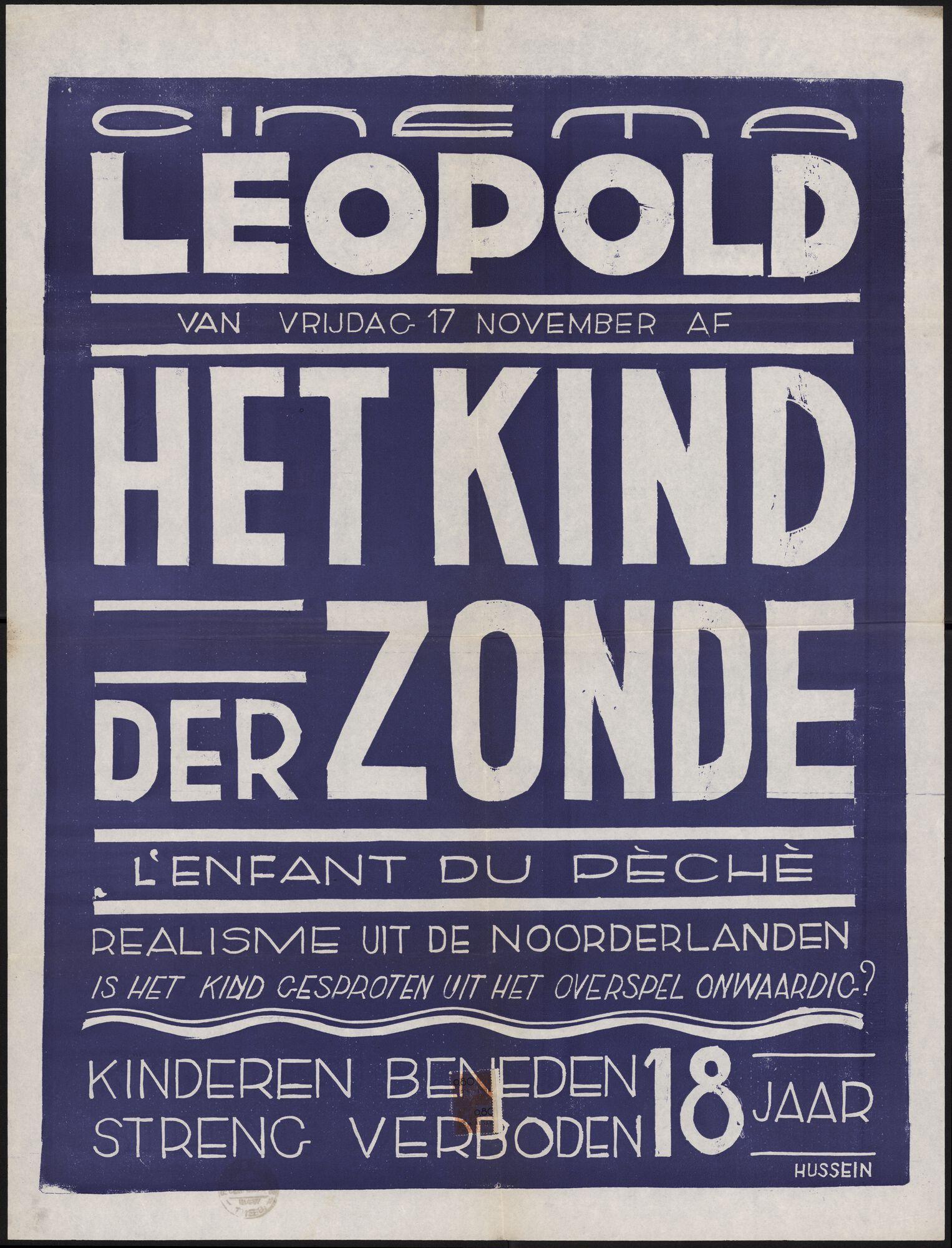 L'enfant du pèché | Het kind der zonde, Cinema Leopold, Gent, 17 november 1950
