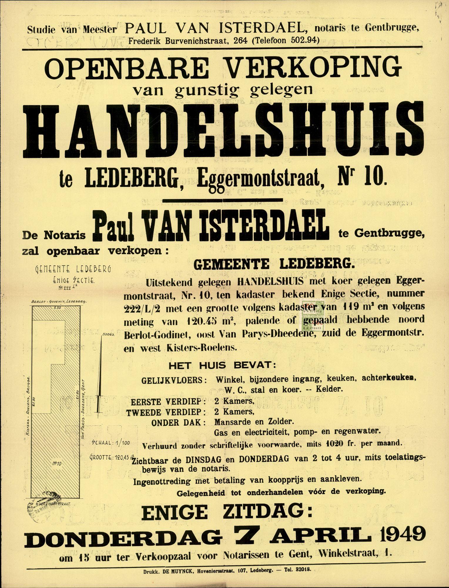 Openbare verkoop van gunstig gelegen handelshuis te Ledeberg, Eggermontstraat, nr.10, Gent, 7 april 1949