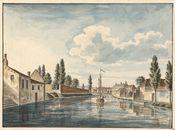 Gent: Leie aan Reke en Baudelohof, zicht vanaf Sint-Jorisbrug