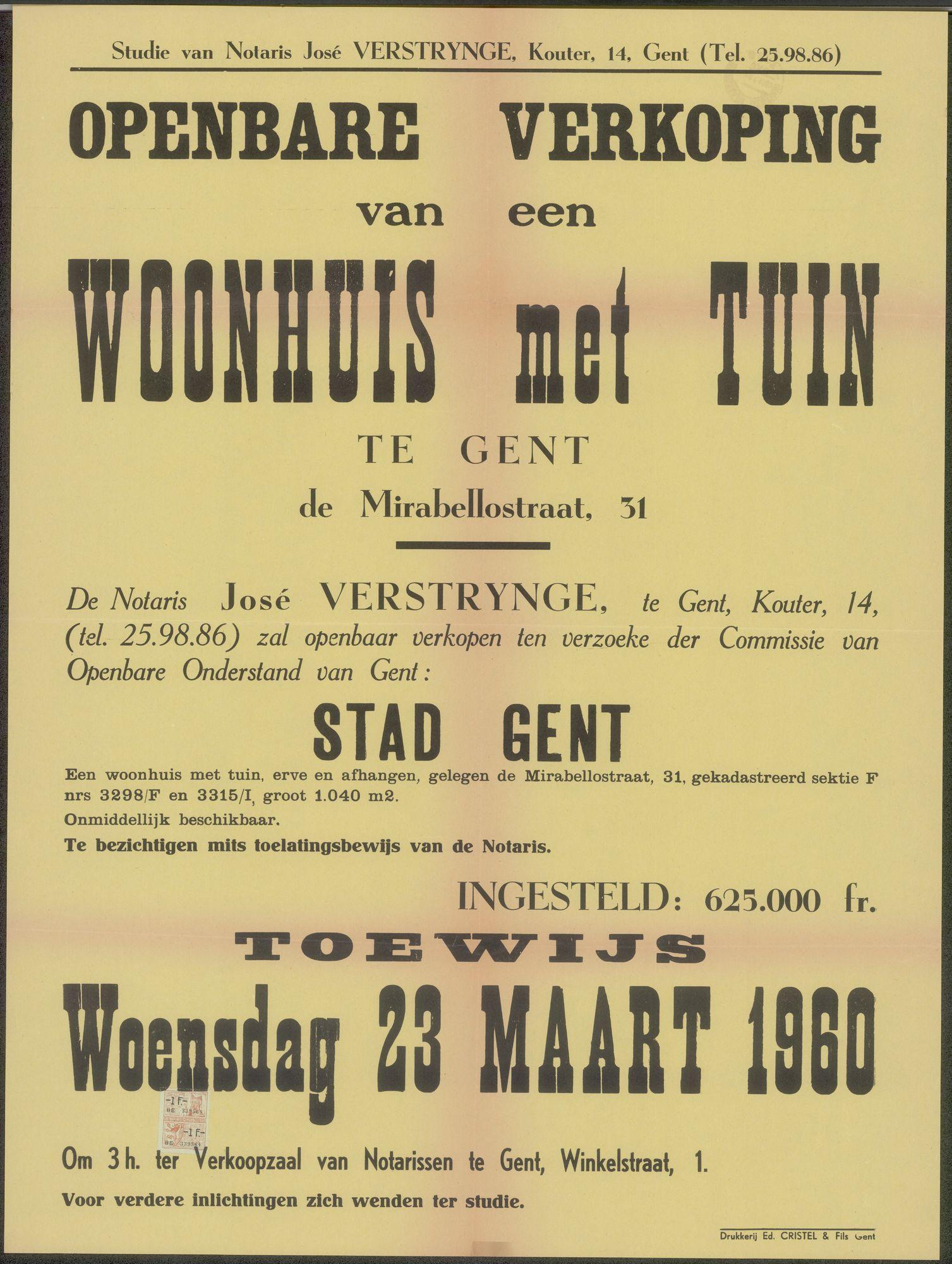 Openbare verkoop van een woonhuis met tuin te Gent, de Mirabellostraat, nr. 31, Gent, 23 maart 1960