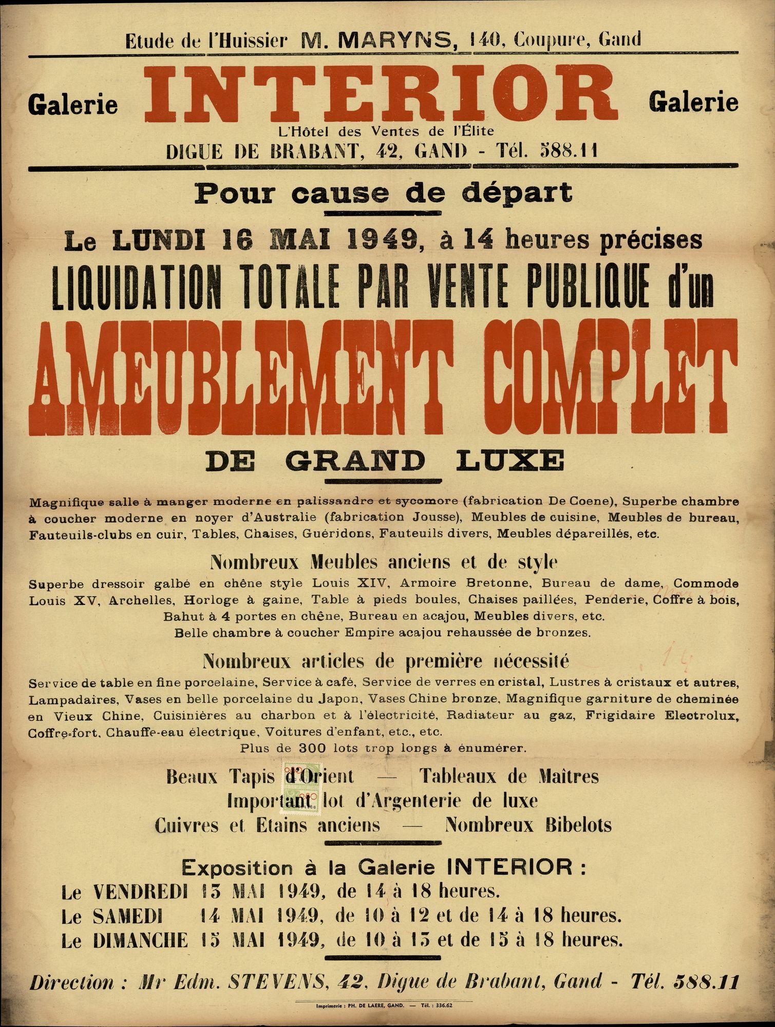 Liquidation totale par vente publique d'un ameublement complet de grand luxe, Galerie Interior, Digue De Brabant 42,  Gand, 16 mai 1949