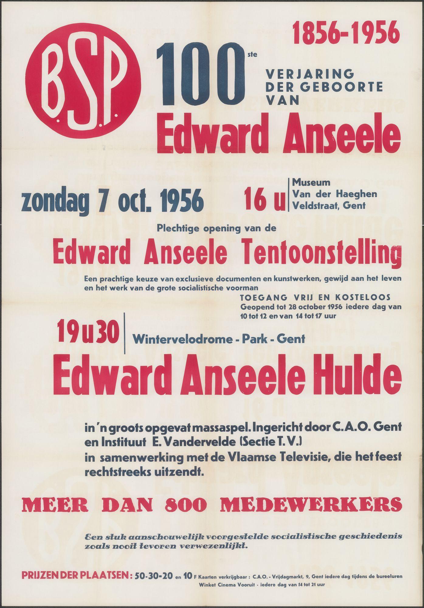 B.S.P., 100e verjaardag van de geboorte van Edward Anseele, 1856-1956, Edward Anseele Tentoonstelling, Edward Anseele Hulde, zondag 7 oktober 1956, Gent