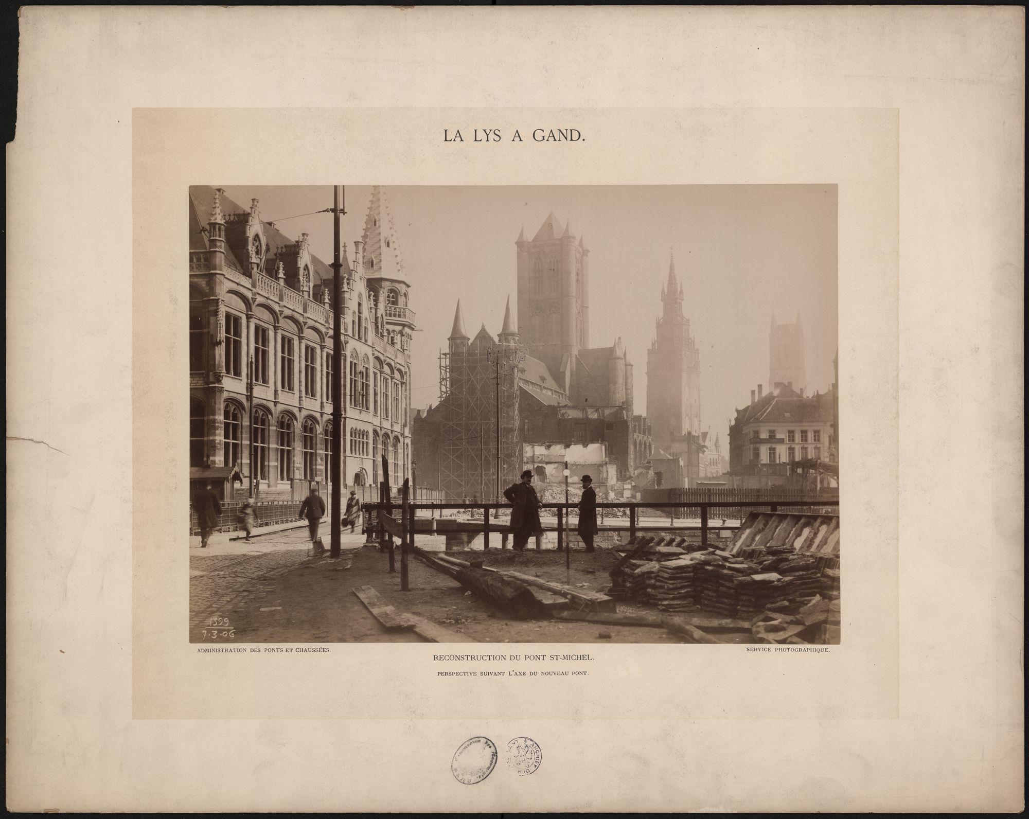 Gent: Sint-Michielsbrug. Heropbouw. Postgebouw en de 3 torens