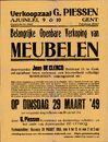 Belangrijke openbare verkoop van meubelen, verkoopzaal G. Piessen, Ajuinlei, nrs.9 & 10, Gent, 29 maart 1949