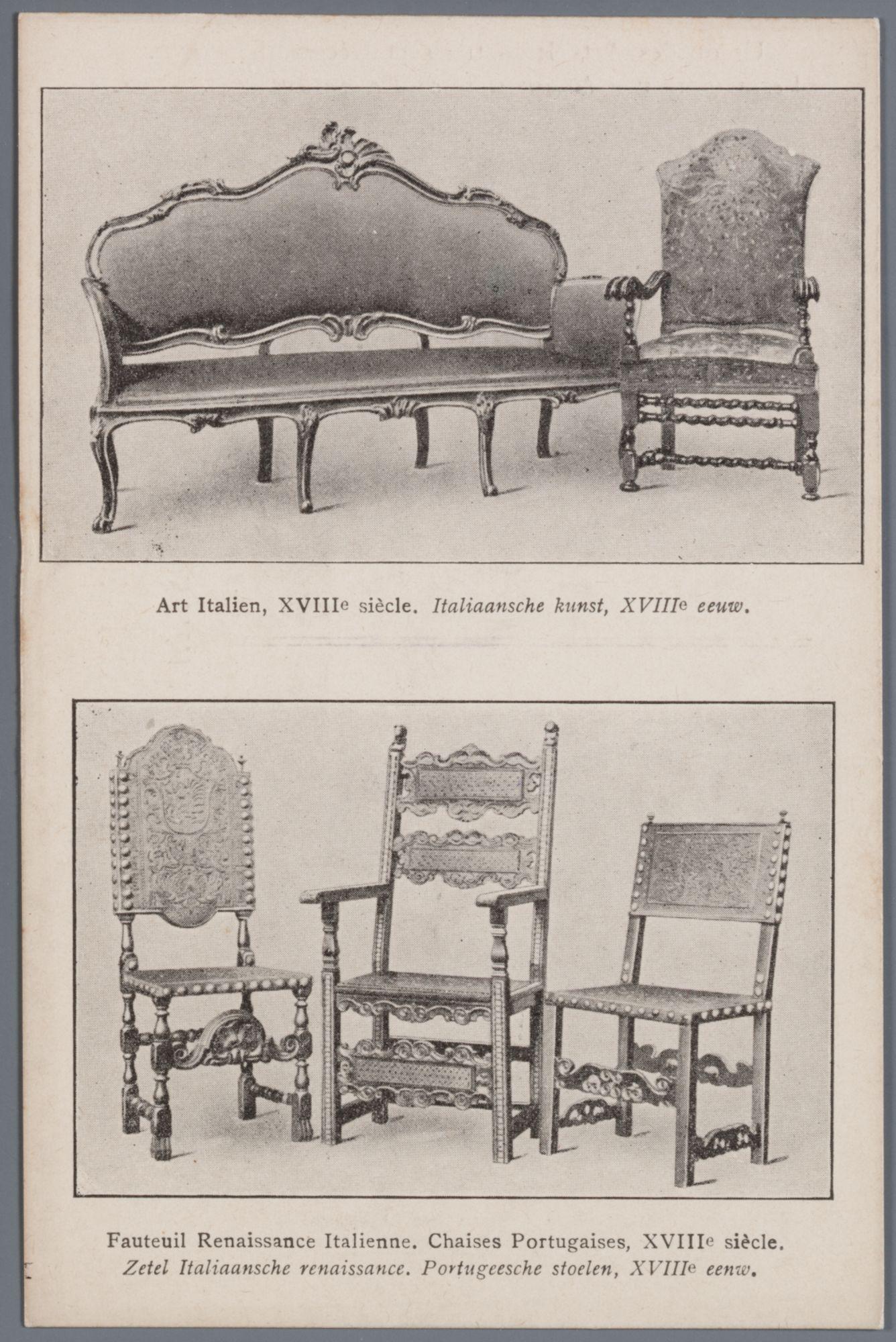Gent: Modellenmuseum (later Museum van Sierkunst, nu Designmuseum): Italiaanse en Portugese stoelen, 18de eeuw