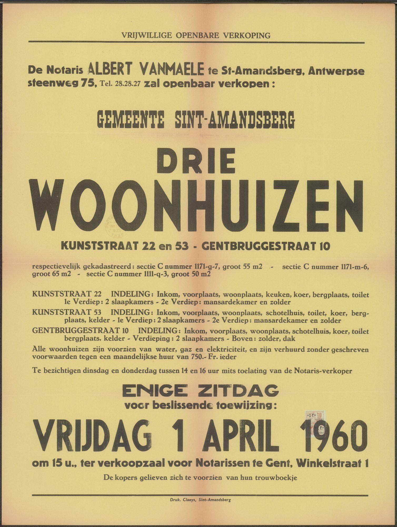 Vrijwillige openbare verkoop van drie woonhuizen, Kunststraat, nrs. 22 en 53 - Gentbruggestraat, nr.10, Sint-Amandsberg, Gent, 1 april 1960