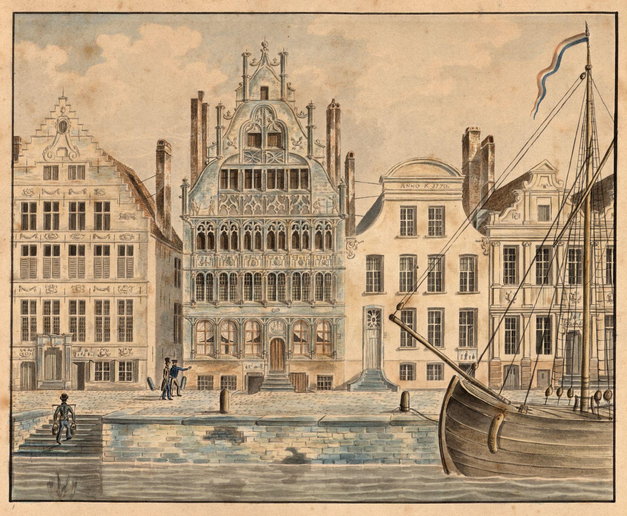 Gent: Graslei met Vrije Schippershuis