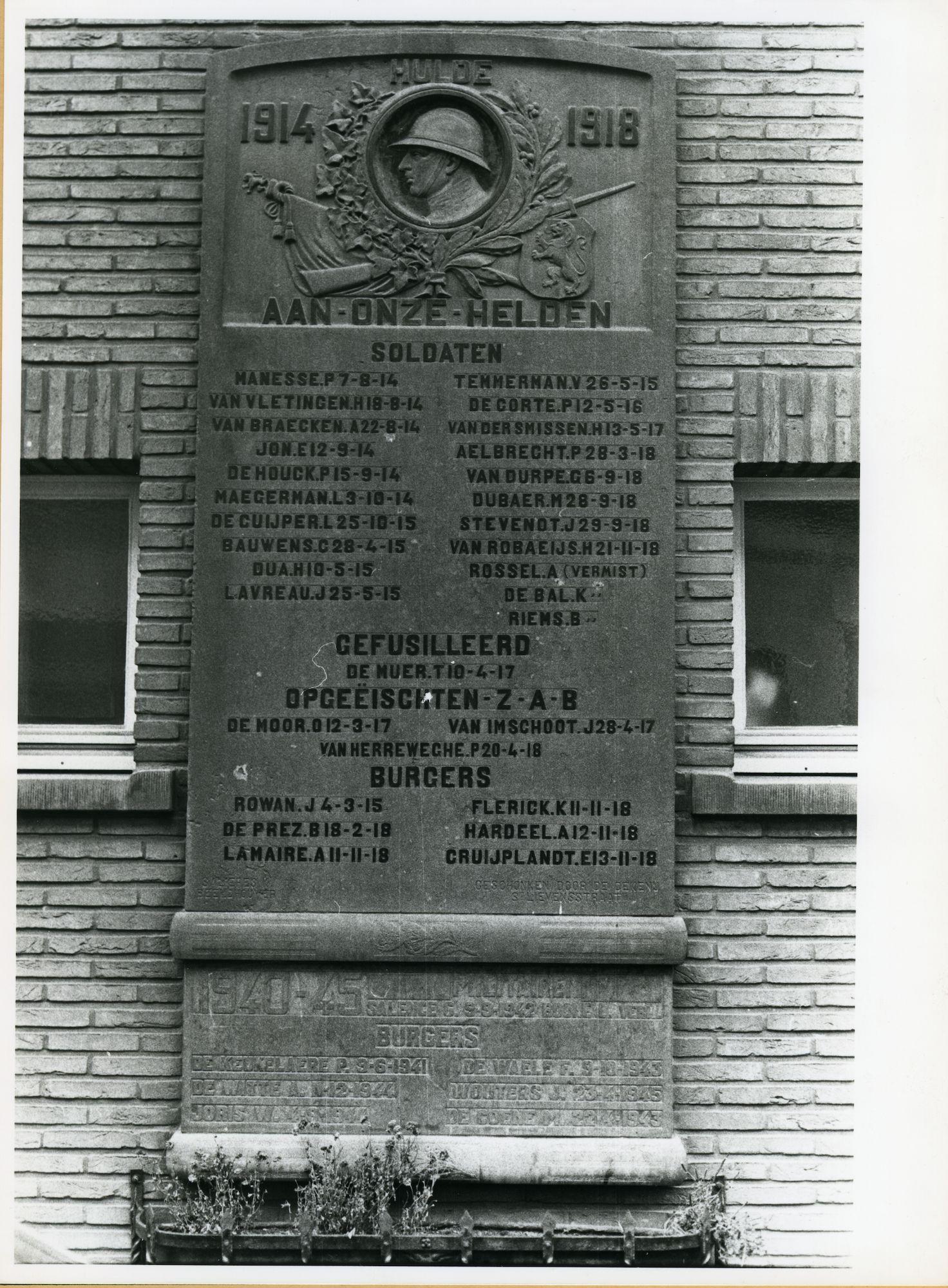 Gent: Sint Lievenspoortstraat 129: oorlogsgedenkplaat, 1979