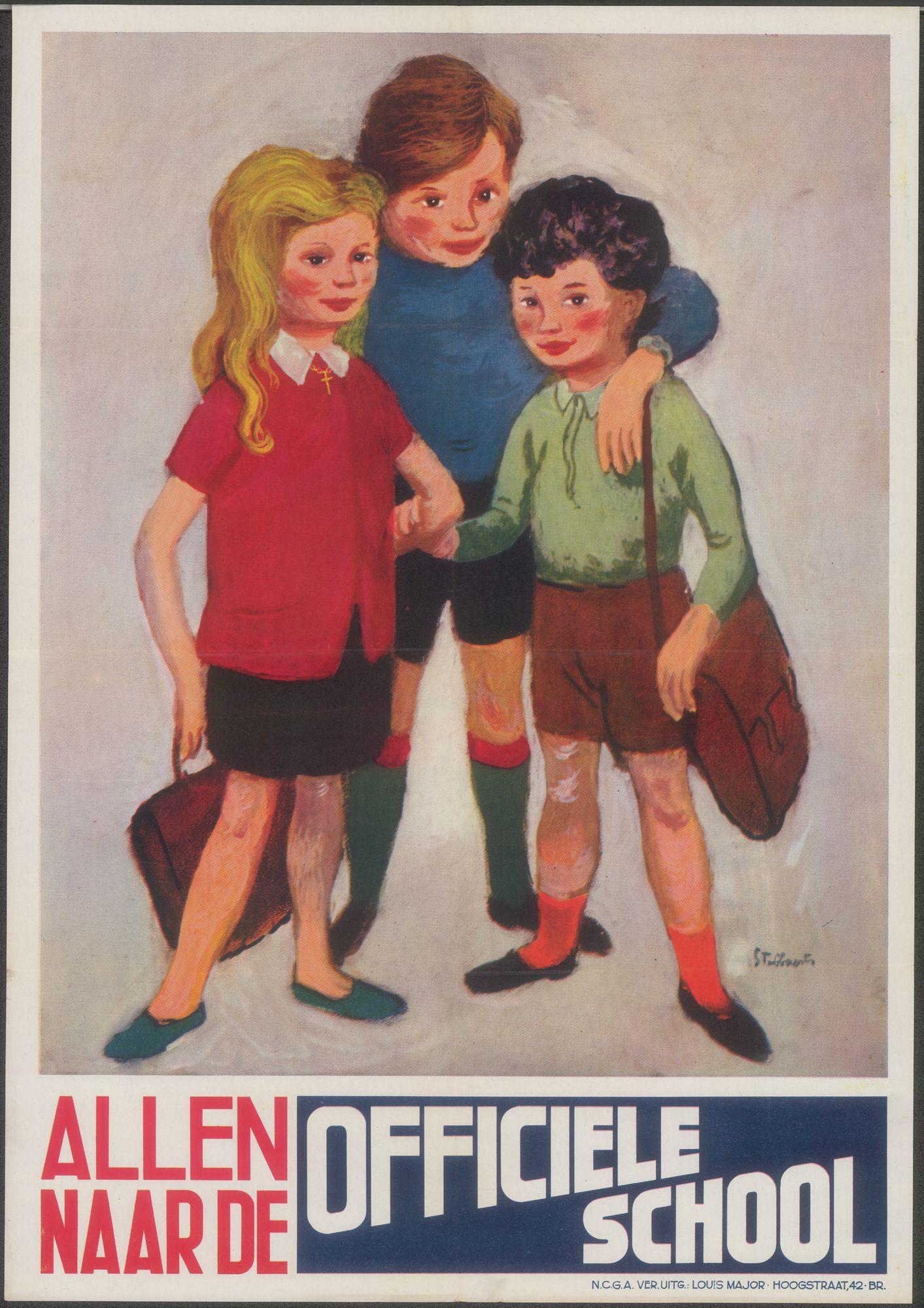 Allen naar de Officiële school, 1955