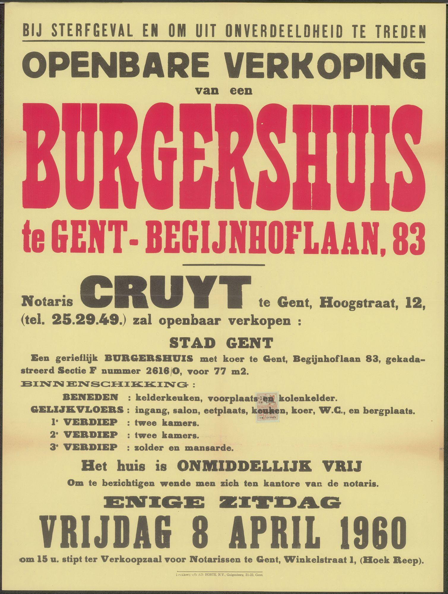 Openbare verkoop van een burgershuis te Gent - Begijnhoflaan, nr.83, Gent, 8 april 1960