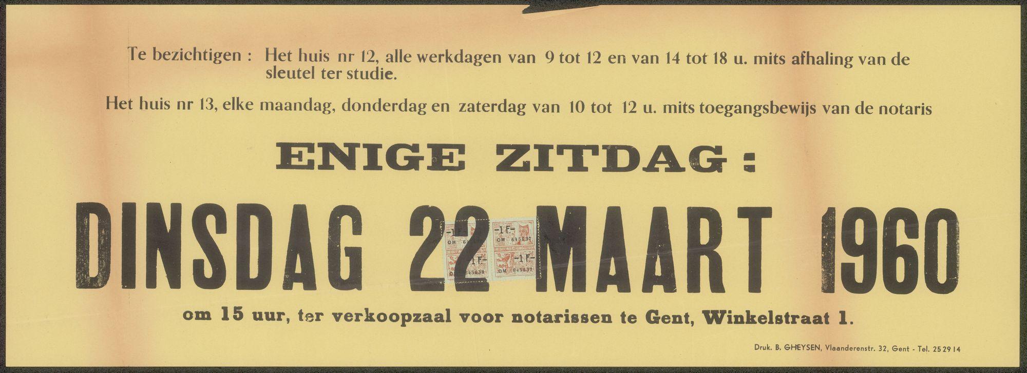 Vrijwillige openbare verkoop van twee aaneenpalende burgershuizen met tuin, zeer gunstig gelegen te Gent, Hofbouwlaan, nrs.12 en 13 (aan het Stadspark-Heuvelpoort), Gent, 1960
