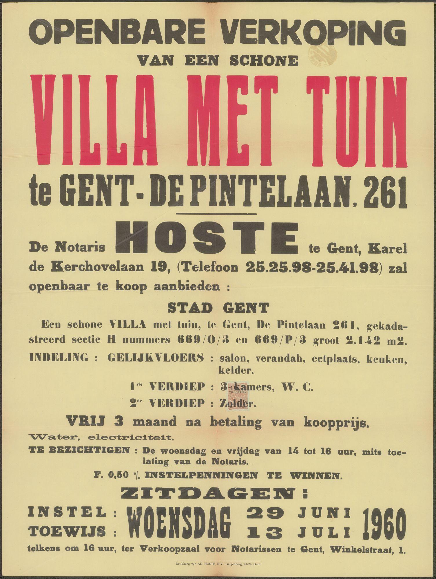 Openbare verkoop van een schone Villa met tuin te Gent - De Pintelaan, nr. 261, Gent, 13 juli 1960