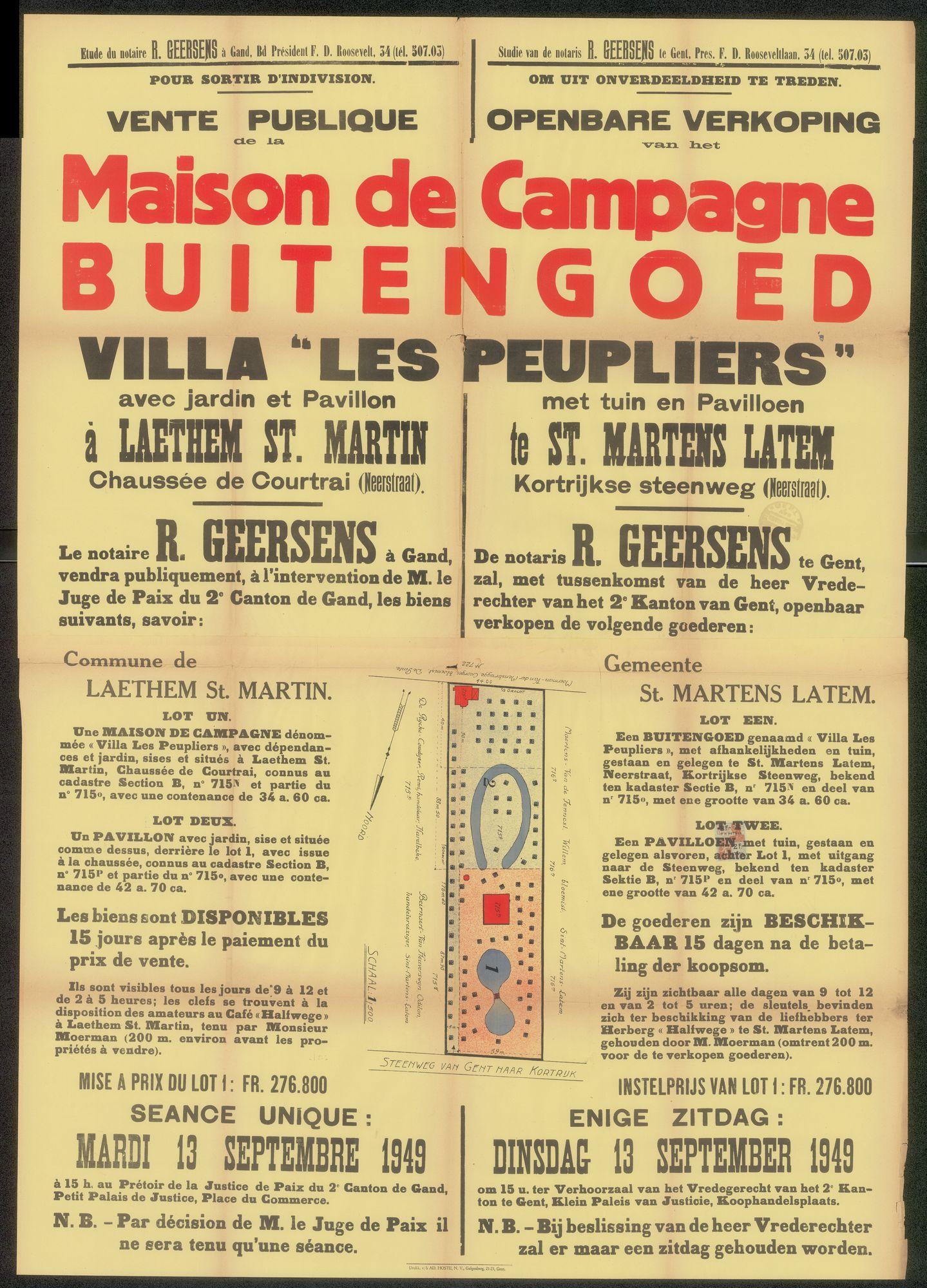 """Openbare verkoop van het  buitengoed, Villa """"Les Peupliers"""" met tuin en pavilloen te St. Martens Latem, Kortrijksesteenweg (Neerstraat), Gent, 13 september 1949"""
