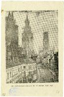 Gent: Catalognestraat (Cataloniëstraat) : Sint-Niklaaskerk, aangebouwde huizen, belfort en Sint- Baafs
