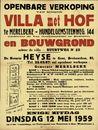 Openbare verkoop van schoon villa met hof te Merelbeke - Hundelgemsteenweg, nr.144 (rechtover de Van Goethemstraat en Bushalte) en bouwgrond achter de villa - Buurtweg, nr.52, Gent, 12 mei 1959
