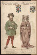 Gent: Sint-Pietersplein: kerk van de Sint-Pietersabdij: Onze-Lieve-Vrouwkapel: schilderij met de portretten van graaf Arnulf I de Grote (c.889-965) en gravin Aleidis van Vermandois (916-960), voor 1580