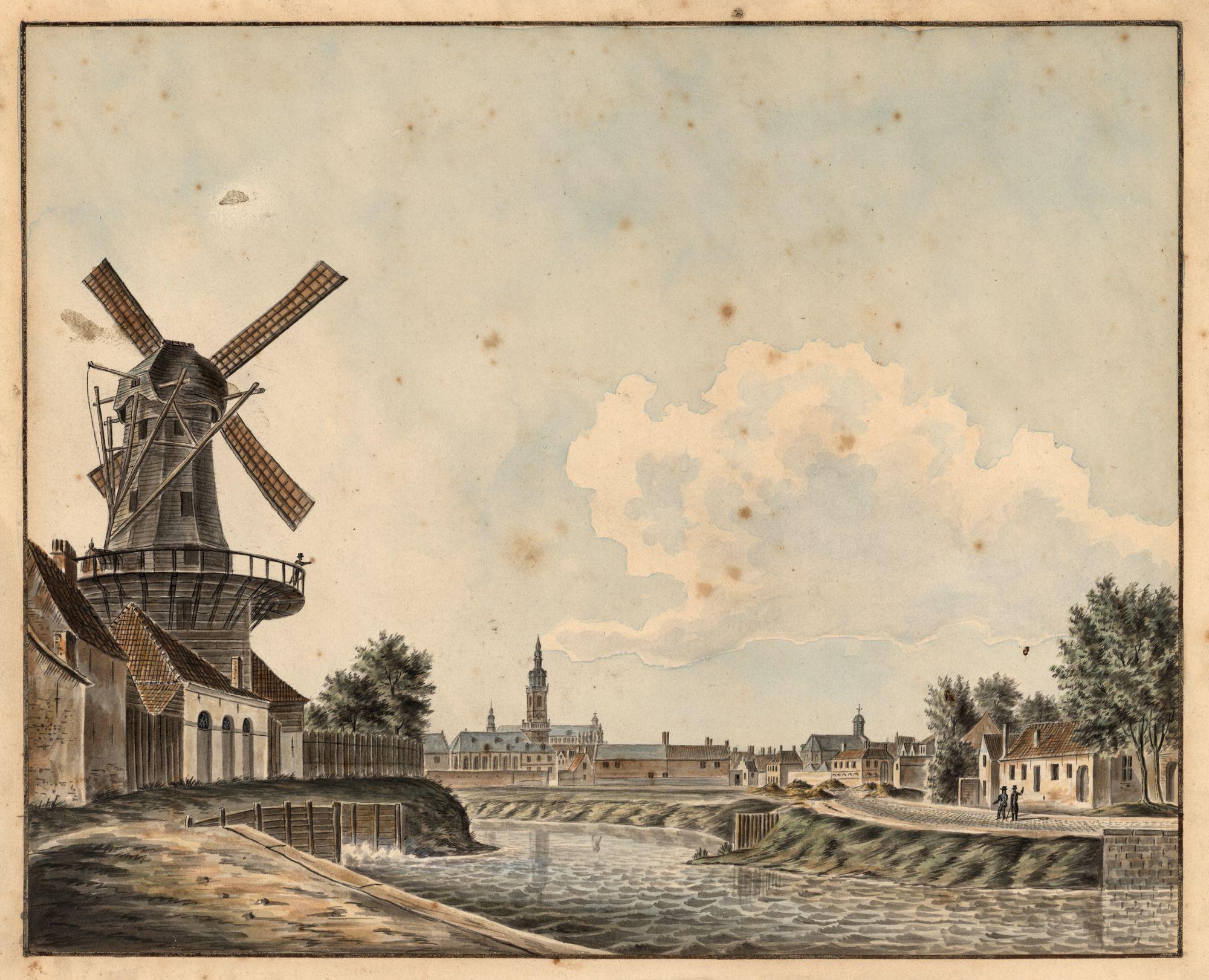 Gent: Nederschelde (Visserij) en Koepoortkaai met windmolen
