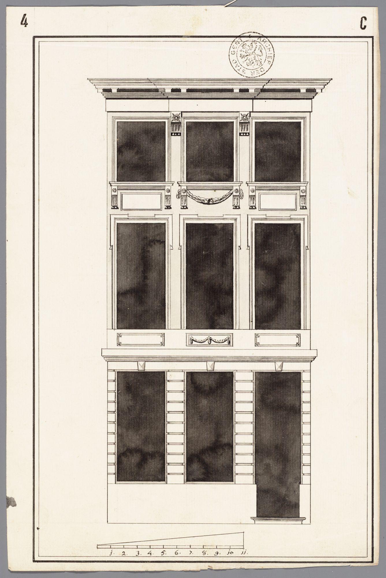 Gent: Hukkelgem (nu Belgradostraat), 1780: opstand gevel