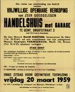 Vrijwillige openbare verkoop van zeer goed gelegen handelshuis met garage te Gent, Druifstraat, nr.2, Gent, 20 maart 1959