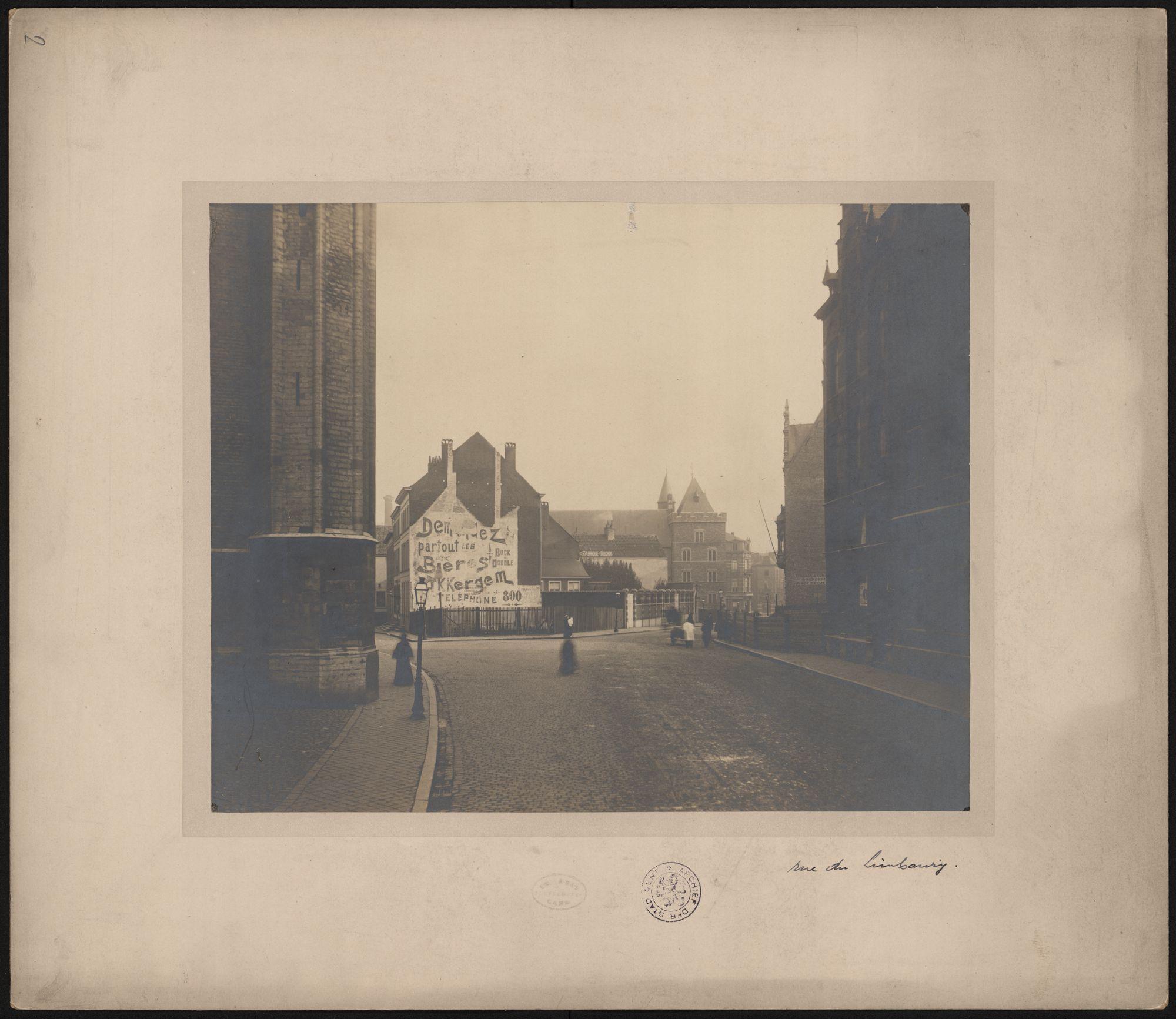 Gent: Limburgstraat, Geeraard De Duivelsteen en huizen met publiciteit