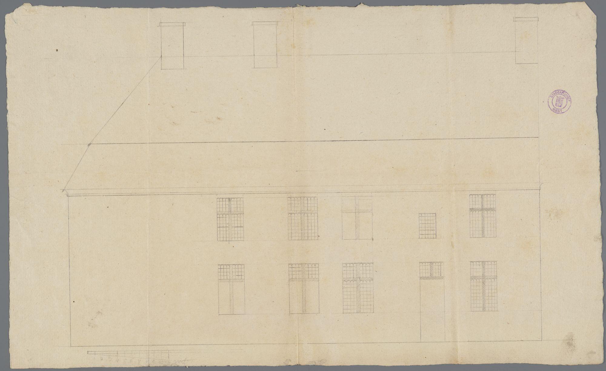 Gent: 't Stuk, 1795: opstand gevel: oude en nieuwe toestand