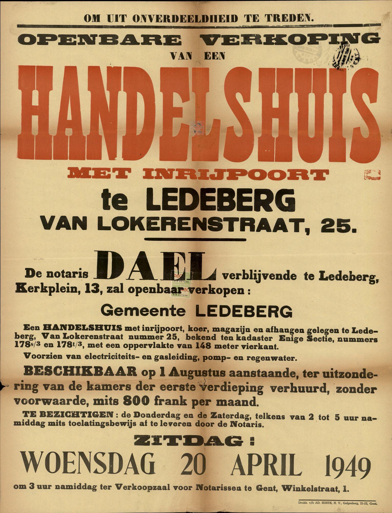 Openbare verkoop van een handelshuis met inrijpoort te Ledeberg, August Van Lokerenstraat, nr.25, Gent, 20 april 1949