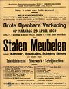 """Grote openbare verkoop  in de zaal """"Arca"""", Hoogpoort, nr.42 te Gent (naast het stadhuis), 20 april 1959"""