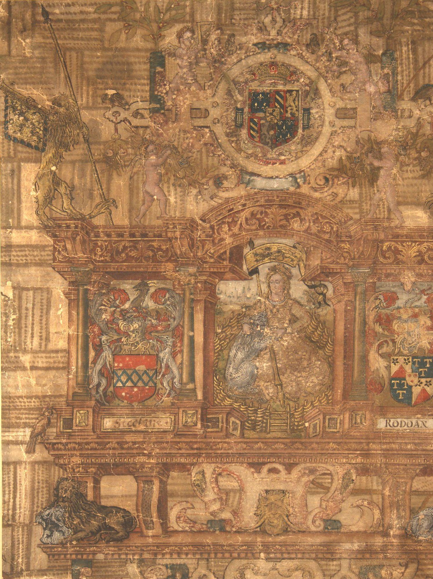 Sint-Denijs-Westrem-Zuid, Zwijnaarde-West en Sint-Martens-Latem-Noord, bedekt door cartouches, wapens en tekeningen: kaartdeel 13 (I) van de Kaart van Gent en het Vrije van Gent afgebakend door de Rietgracht, Jacques Horenbault, 1619