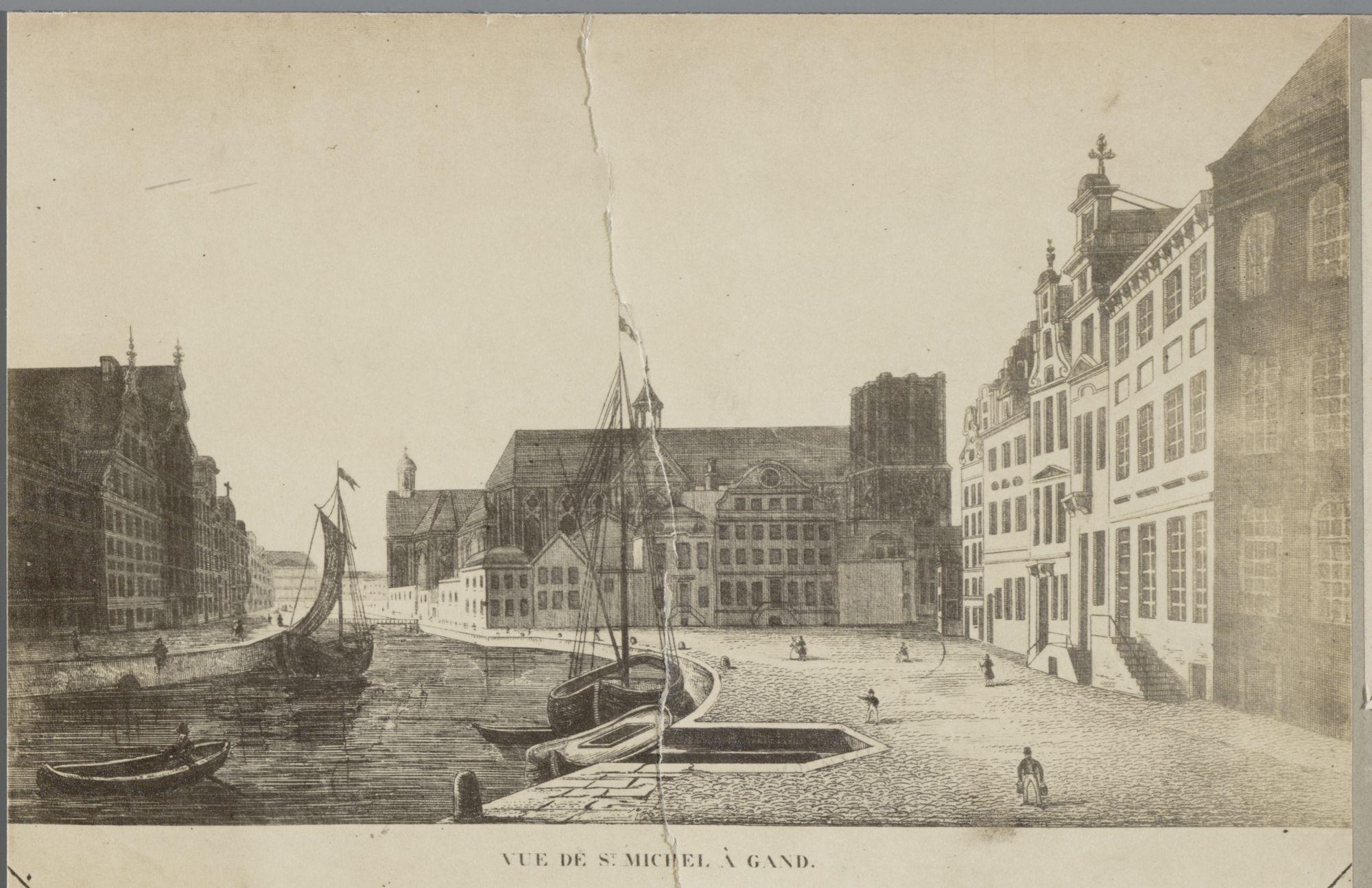 Gent: Zicht op Korenlei en Sint-Michielskerk