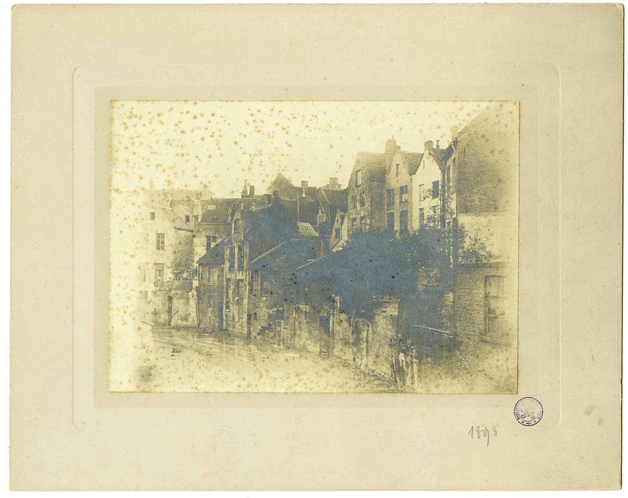 Gent: Oude Houtlei, achterzijde huizen aan de Pekelharing, Houtlei gedemt in 1899