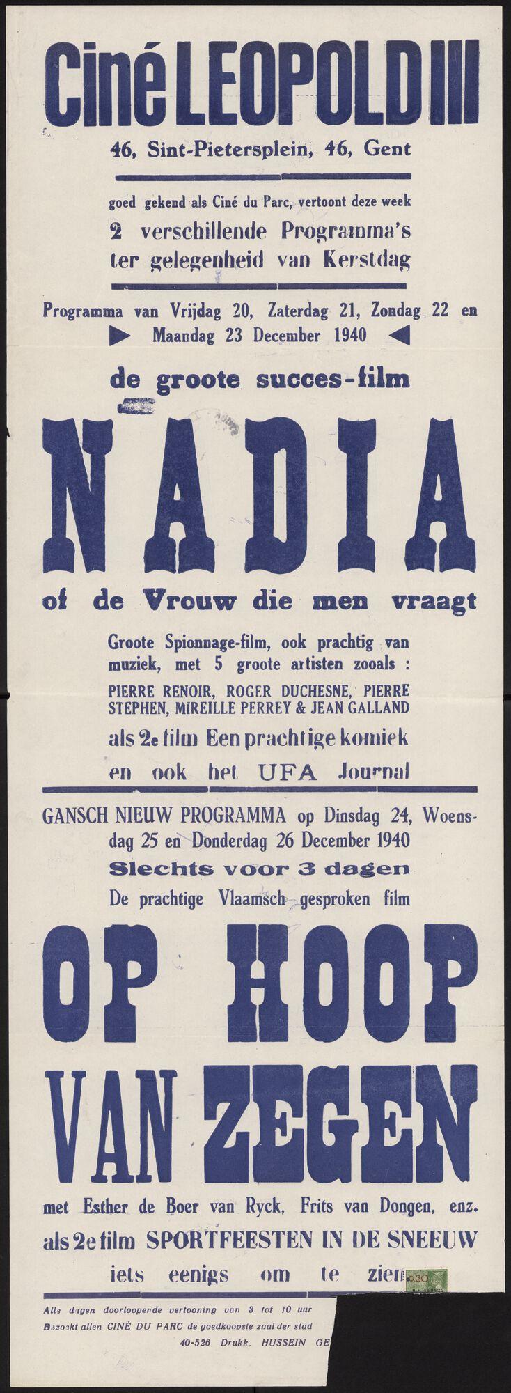 Filmaffiches in bezet Gent, 1940 -1944